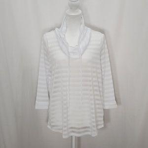 Cupio White on White Striped Shirt Size M